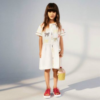 STELLA MCCARTNEY KIDS GIRLS KAYLEE BOWS DRESS, RED SANDALS & ICE CREAM PURSE