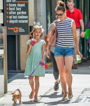 Suri Cruise Walks Dog Honey with Katie Holmes Wearing Burberry Mint Lace Dress