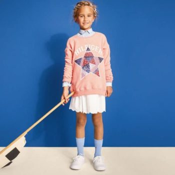TOMMY HILFIGER Girls Coral Pink Sweatshirt White Skirt Spring Summer 2018