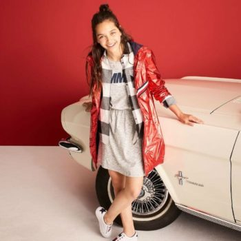TOMMY HILFIGER Girls Red Metallic Coat Grey Dress Spring Summer 2018