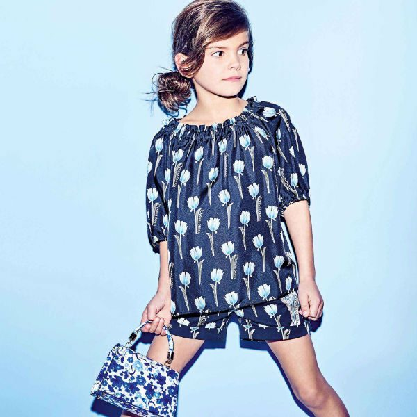 YOUNG VERSACE Girls Blue Flower Ruffle Top Shorts Spring Summer 2018