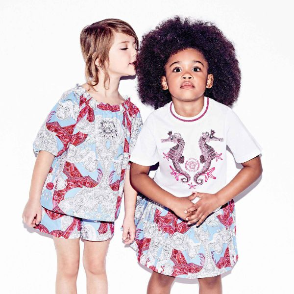 YOUNG VERSACE Girls Pink Blue Baroque Blouse Shorts Spring Summer 2018