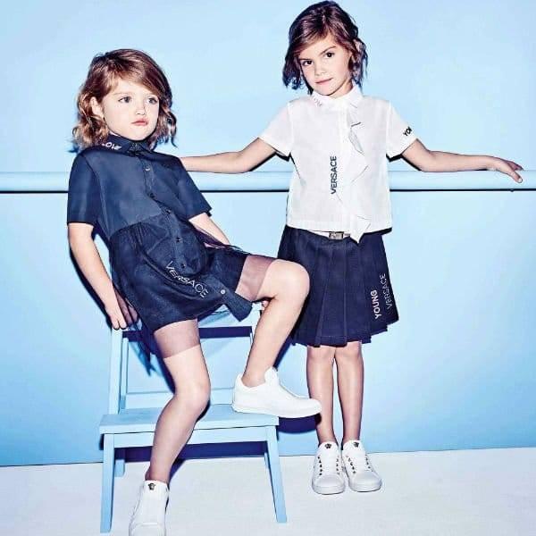 YOUNG VERSACE Girls White Cotton Logo Blouse Blue Skirt Spring Summer 2018