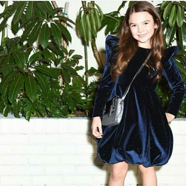 BROOKLYN PRINCE Junona Blue Velvet Party Dress W Mag Afterparty