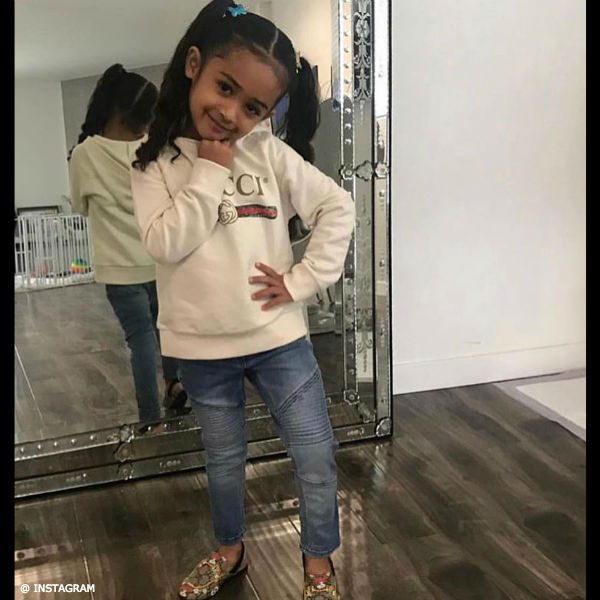 Chris Brown's Daughter Royalty in GUCCI Sweatshirt Shoes March 2018