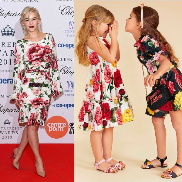 Emilia Clarke Dolce Gabbana Girls Mini Me White Rose Print Dress Centerpoint Awards 2018