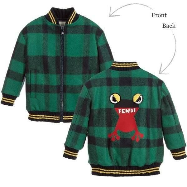 FENDI Boys Frog Check Bomber Jacket
