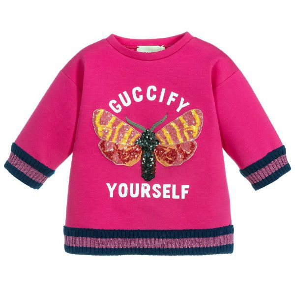 GUCCI Girls Pink Cotton Sweatshirt