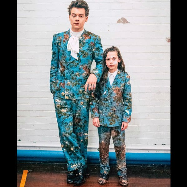 Harry Styles and Beau Gadsdon Gucci Floral Double Breasted Suit in Kiwi Music Video