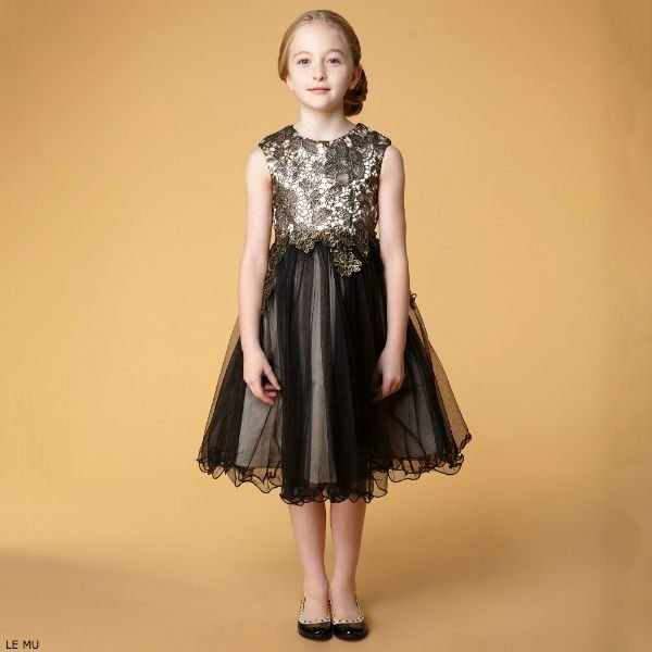 LE MU Girls Black & Gold Lace Dress