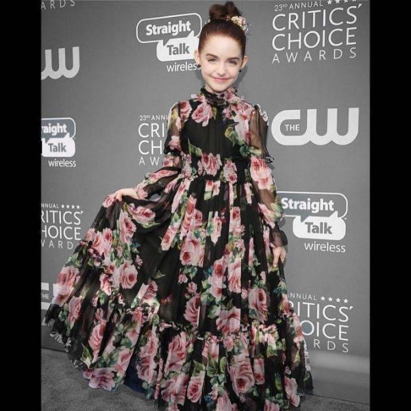 MCkenna Grace DOLCE & GABBANA Black Silk Rose Print Dress Critics Choice Award 2018