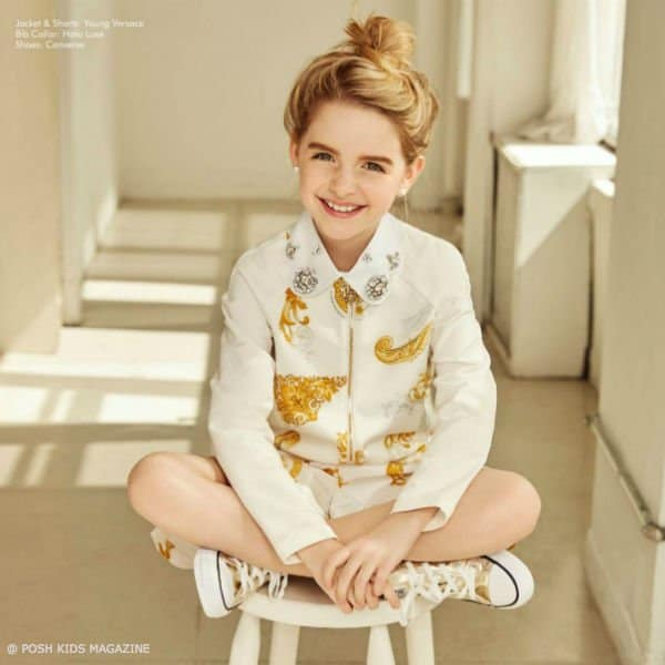 MCKENNA GRACE – YOUNG VERSACE WHITE GOLD SHIRT