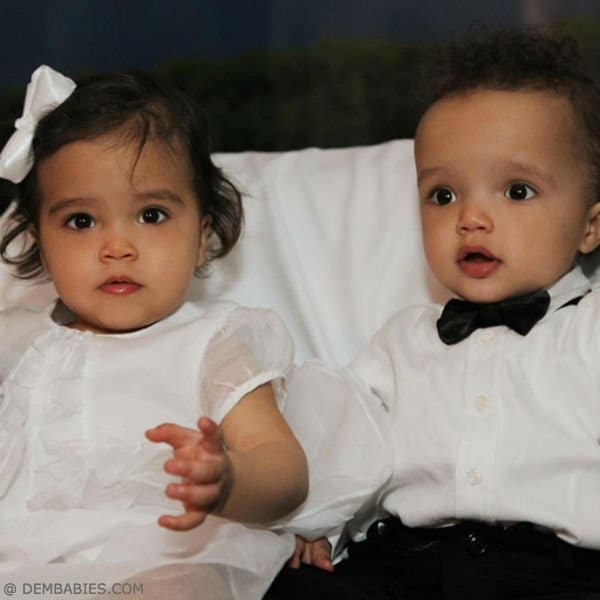 Morocco and Monroe Mariah Carey's Twins Roberto Cavalli Junior Baby Dress & Tuxedo First Birthday Party