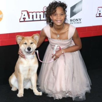 QUVENZHANE WALLIS ARMANI JUNIOR DRESS AT ANNIE PREMIERE