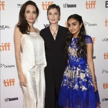 Saara Chaudry David Charles Blue Gold Sapphire Dress Angelina Jolie Breadwinner Movie