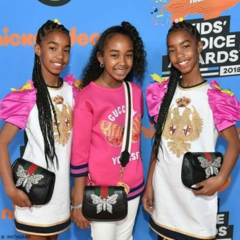 Sean Ditty Daughters D'Lila Chance Jessie Combs Dsquared Dress Gucci Pink Sweatshirt 2018 Nickelodeon Kids' Choice Awards