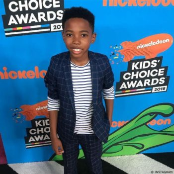 Seth Carr Black Panther Movie 2018 Nickelodeon Kids Choice Awards CARREMENT BEAU Striped Shirt Appaman Suit