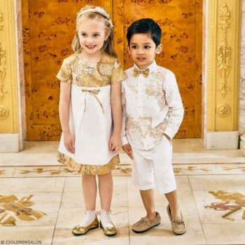ALVIERO MARTINI Girls White Geo Map Dress Boys White Geo Map Linen Shirt