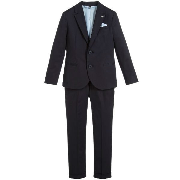 ARMANI JUNIOR Boys Blue Cotton 2 Piece Suit