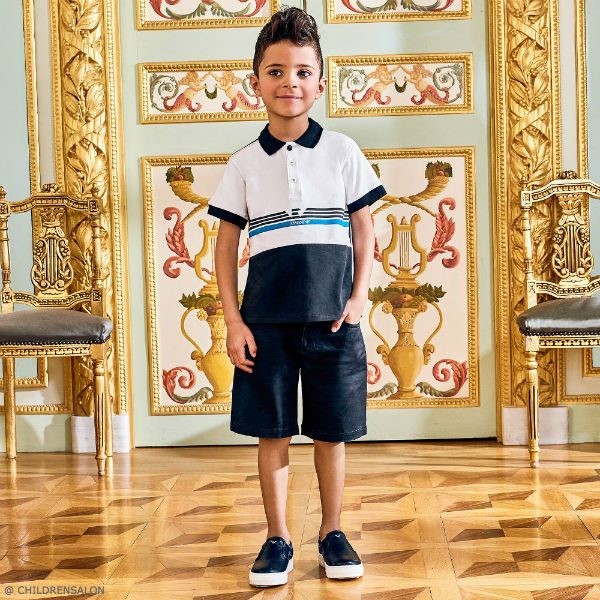 ARMANI JUNIOR Boys Blue Jersey Polo Shirt and Shorts