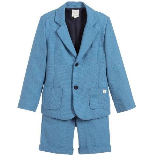 CARRÉMENT BEAU Blue Cotton Suit with Shorts
