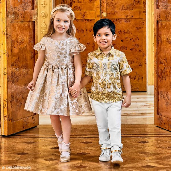 4b2599b12fec DAVID CHARLES Girls Golden Brocade Dress YOUNG VERSACE Boys Gold Baroque  Print Shirt
