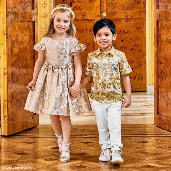 DAVID CHARLES Girls Golden Brocade Dress YOUNG VERSACE Boys Gold Baroque Print Shirt