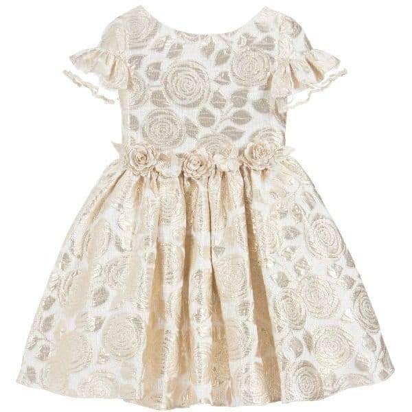 DAVID CHARLES Girls Golden Brocade Dress