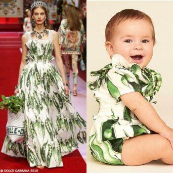 DOLCE & GABBANA BABY GIRLS MINI ME GREEN PISELLI PEA PLAYSUIT & DRESS