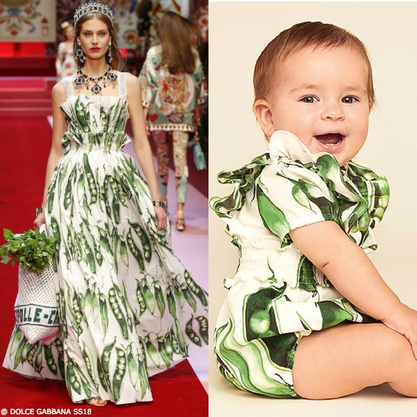 DOLCE & GABBANA BABY GIRLS MINI ME GREEN PISELLI PEA PLAYSUIT & DRESS