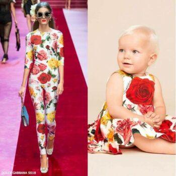 DOLCE & GABBANA BABY GIRLS MINI ME IVORY ROSE DRESS SS18