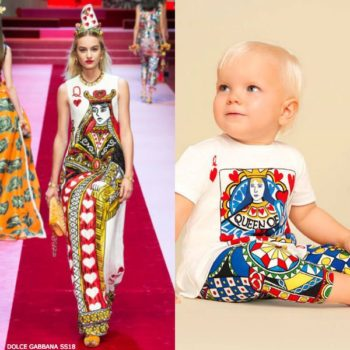 DOLCE & GABBANA BABY GIRLS MINI ME WHITE QUEEN OF HEARTS TOP & LEGGINGS