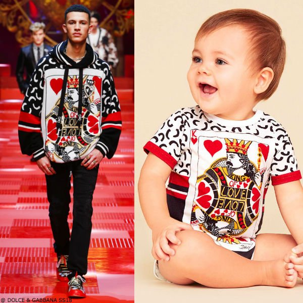 DOLCE & GABBANA BABY BOYS MINI ME KING OF HEARTS SHORTIE