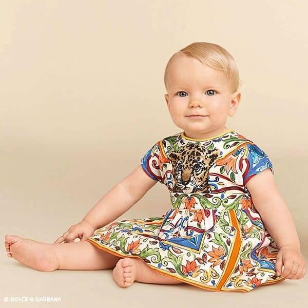 DOLCE & GABBANA Baby Girl Majolica Tiger Mini Me Dress