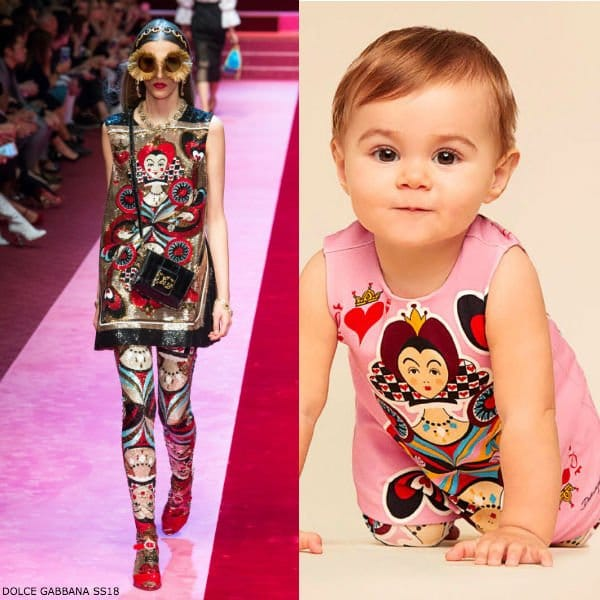 DOLCE & GABBANA BABY GIRLS MINI ME QUEEN OF HEARTS DRESS