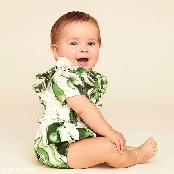 e5263fa5e6 DOLCE   GABBANA Girls Mini Me Green Piselli Pea Playsuit   Dress ...