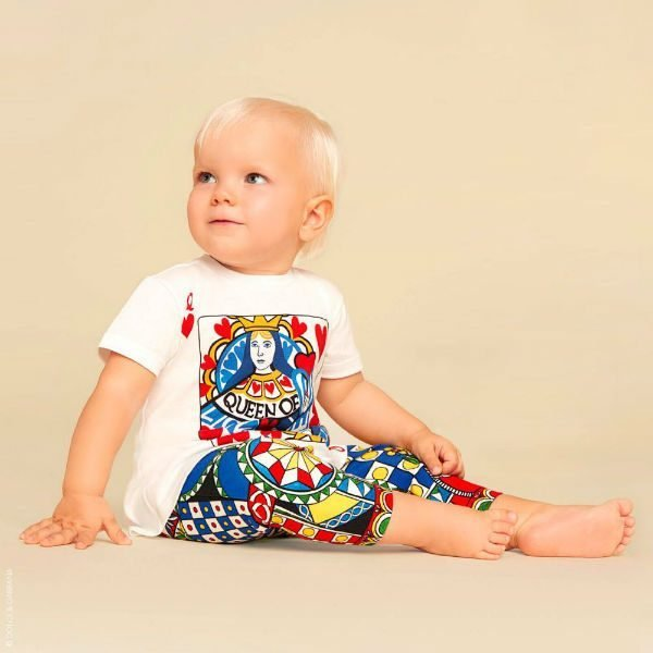 DOLCE & GABBANA Baby Girls White Queen Of Hearts Top & Leggings