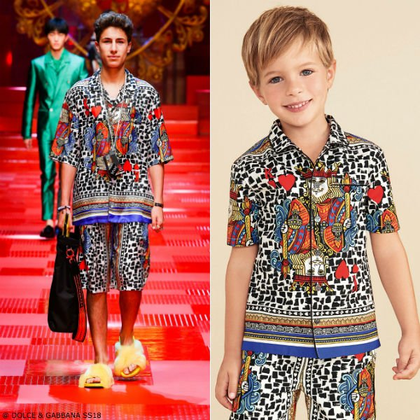 DOLCE & GABBANA BOYS MINI ME KING OF HEARTS SHIRT & SHORTS