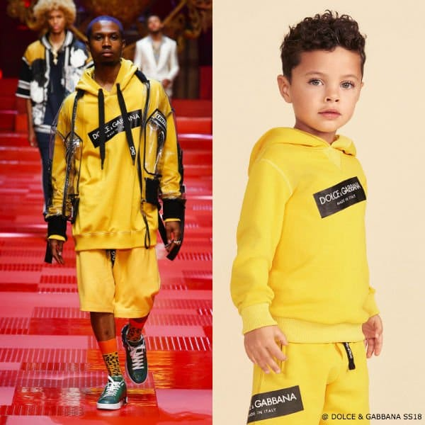 DOLCE & GABBANA BOYS MINI ME YELLOW LOGO SWEATSHIRT & SHORTS