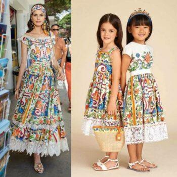 DOLCE & GABBANA Girl Mondello Majolica Mini Me Lace Dress