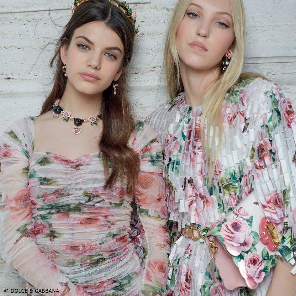 DOLCE & GABBANA Women's Love Christmas Rose Farfalle Silk Dres ss18