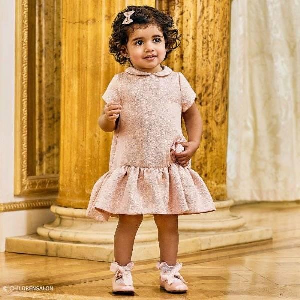 6f2e061d8900 FENDI Baby Girls Pink Glitter Dress   Pink Leather Shoes