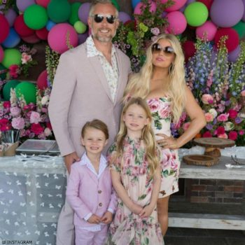JESSICA SIMPSON'S DAUGHTER MAXWELL Easter 2017 Dolce Gabbana Mini Me Rose Farfalle Silk Dress