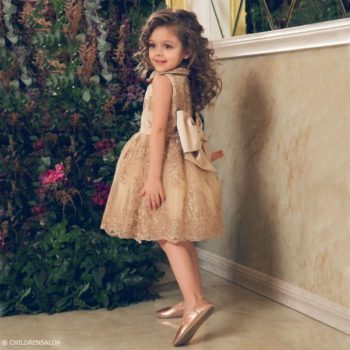 JUNONA Baby Girls Gold Lace Party Dress