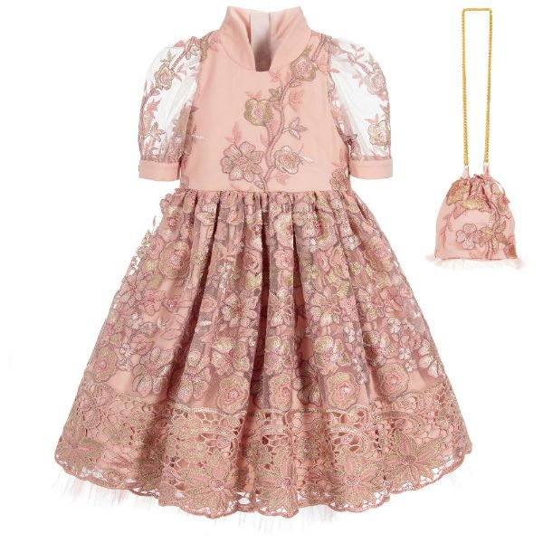 JUNONA Girls Pink Floral Tulle Dress