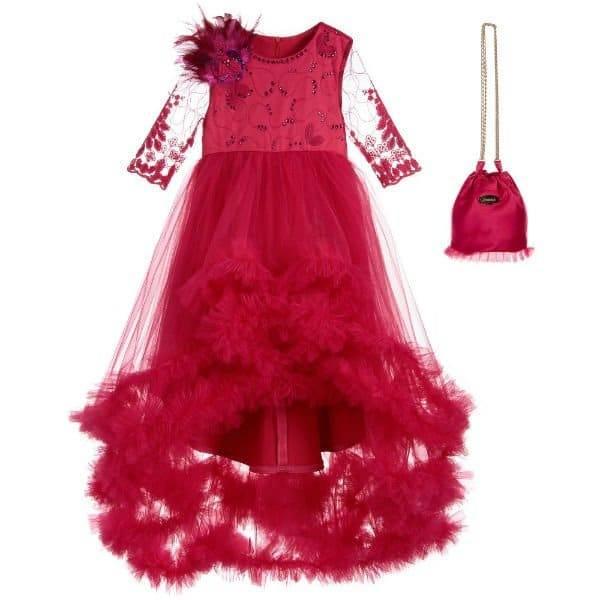 JUNONA Pink Full Length Dress & Bag