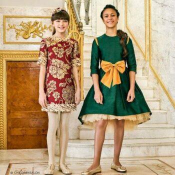 LAZY FRANCIS Green Silk Dress & Gold Bow