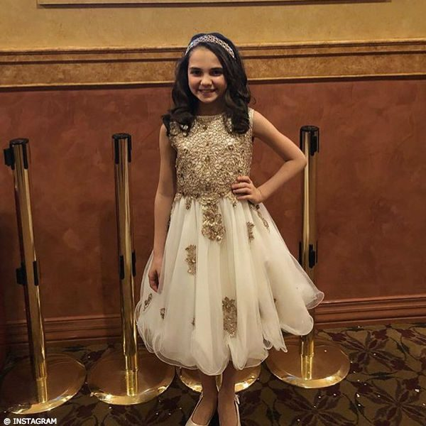 Mattea Conforti Lesy White Gold Lace Tulle Party Dress Broadway Frozen Young Anna