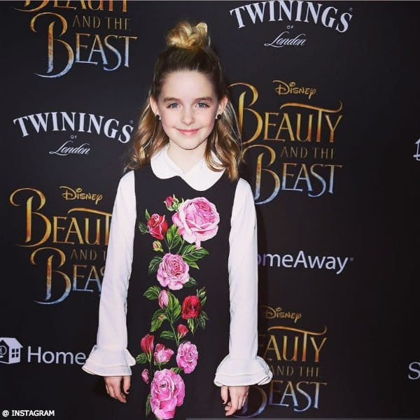 McKenna Grace Dolce & Gabbana Girls Black Rose Party Dress