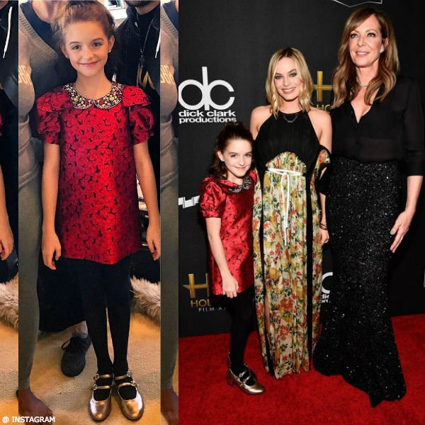 McKenna Grace Dolce & Gabbana Girls Mini Me Red Floral Print Party Dress